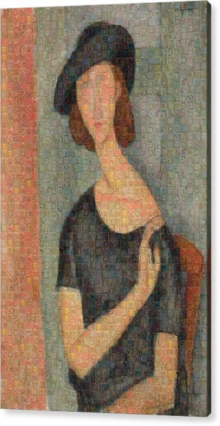 Tribute to Modigliani - 2 - Acrylic Print - ALEFBET - THE HEBREW LETTERS ART GALLERY