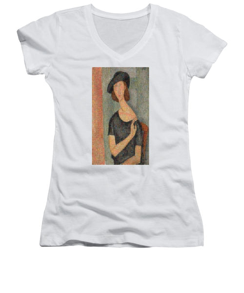 Tribute to Modigliani - 2 - Women's V-Neck - ALEFBET - THE HEBREW LETTERS ART GALLERY