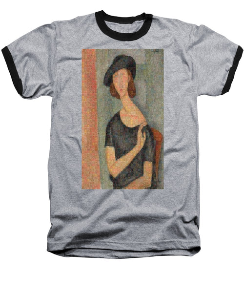 Tribute to Modigliani - 2 - Baseball T-Shirt - ALEFBET - THE HEBREW LETTERS ART GALLERY