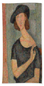Tribute to Modigliani - 2 - Beach Towel - ALEFBET - THE HEBREW LETTERS ART GALLERY