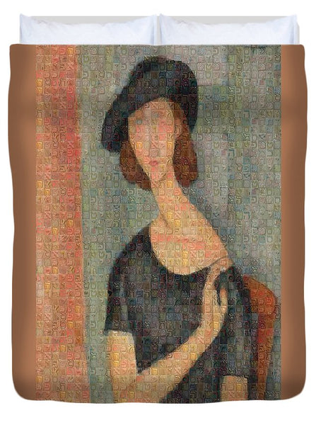 Tribute to Modigliani - 2 - Duvet Cover - ALEFBET - THE HEBREW LETTERS ART GALLERY