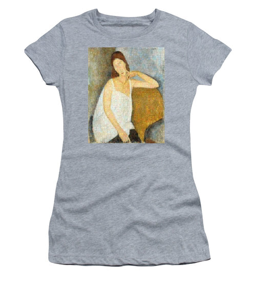 Tribute to Modigliani - 3 - Women's T-Shirt - ALEFBET - THE HEBREW LETTERS ART GALLERY