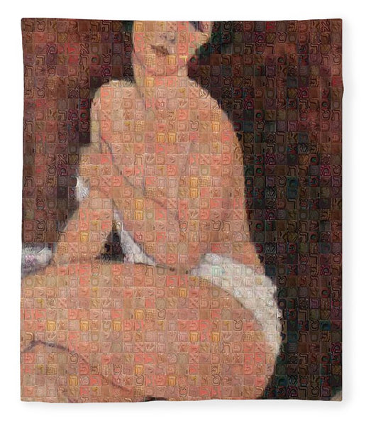 Tribute to Modigliani - 4 - Blanket - ALEFBET - THE HEBREW LETTERS ART GALLERY