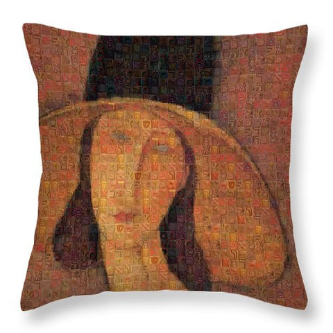 Tribute to Modigliani - 5 - Throw Pillow - ALEFBET - THE HEBREW LETTERS ART GALLERY