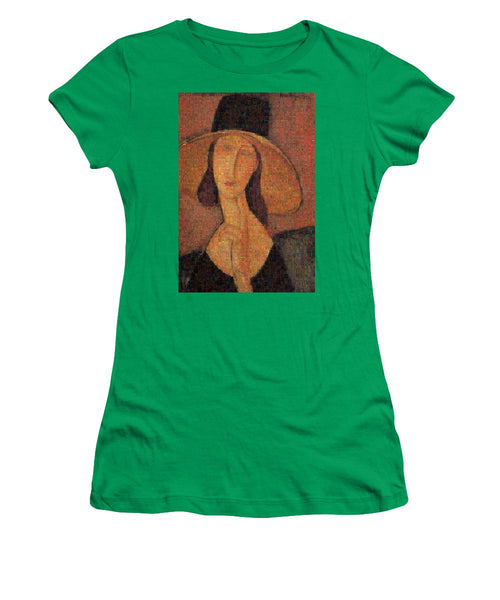 Tribute to Modigliani - 5 - Women's T-Shirt - ALEFBET - THE HEBREW LETTERS ART GALLERY