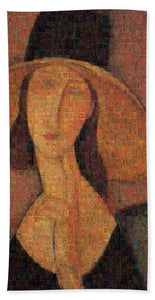 Tribute to Modigliani - 5 - Beach Towel - ALEFBET - THE HEBREW LETTERS ART GALLERY