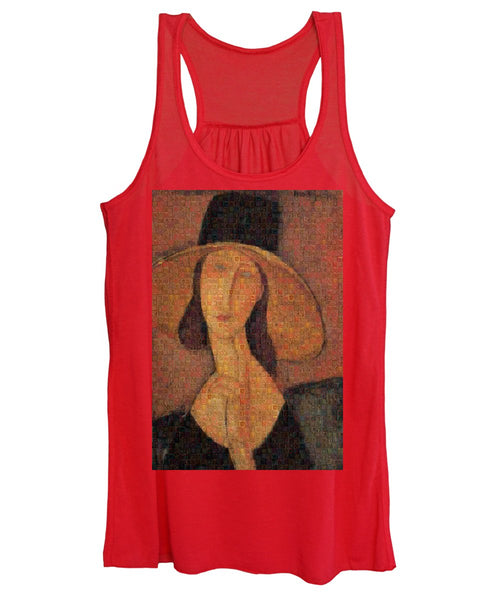 Tribute to Modigliani - 5 - Women's Tank Top - ALEFBET - THE HEBREW LETTERS ART GALLERY