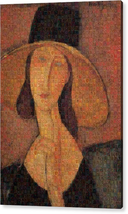 Tribute to Modigliani - 5 - Acrylic Print - ALEFBET - THE HEBREW LETTERS ART GALLERY