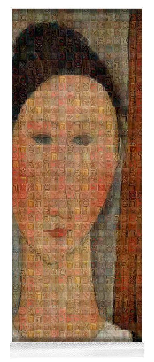 Tribute to Modigliani - 6 - Yoga Mat - ALEFBET - THE HEBREW LETTERS ART GALLERY