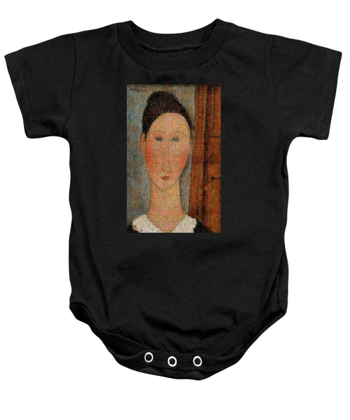 Tribute to Modigliani - 6 - Baby Onesie - ALEFBET - THE HEBREW LETTERS ART GALLERY
