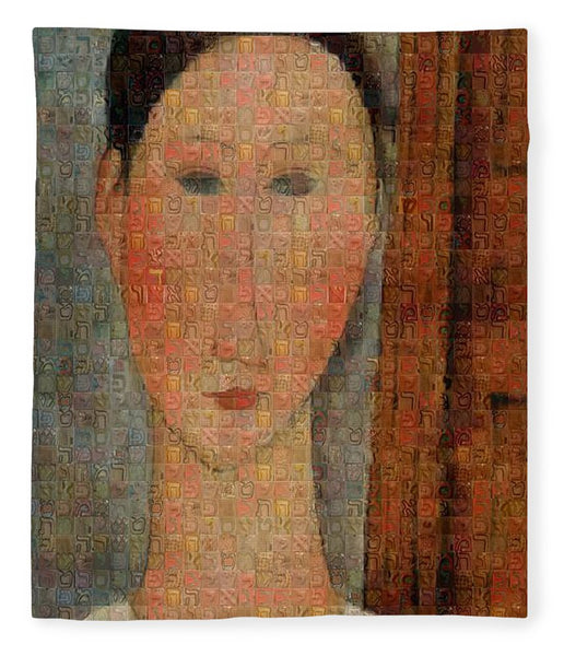 Tribute to Modigliani - 6 - Blanket - ALEFBET - THE HEBREW LETTERS ART GALLERY