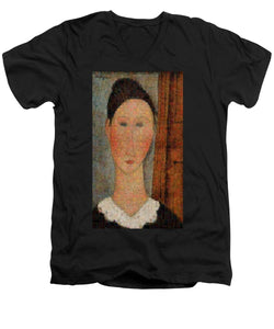 Tribute to Modigliani - 6 - Men's V-Neck T-Shirt - ALEFBET - THE HEBREW LETTERS ART GALLERY