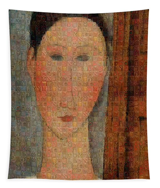 Tribute to Modigliani - 6 - Tapestry - ALEFBET - THE HEBREW LETTERS ART GALLERY