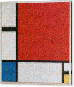 Tribute to Mondrian - Canvas Print - ALEFBET - THE HEBREW LETTERS ART GALLERY