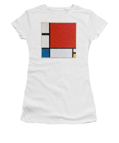 Tribute to Mondrian - Women's T-Shirt - ALEFBET - THE HEBREW LETTERS ART GALLERY