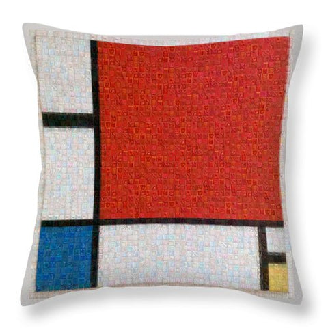 Tribute to Mondrian - Throw Pillow - ALEFBET - THE HEBREW LETTERS ART GALLERY