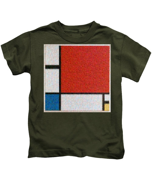 Tribute to Mondrian - Kids T-Shirt - ALEFBET - THE HEBREW LETTERS ART GALLERY