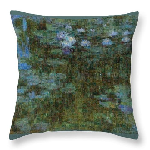 Tribute to Monet - 1 - Throw Pillow - ALEFBET - THE HEBREW LETTERS ART GALLERY