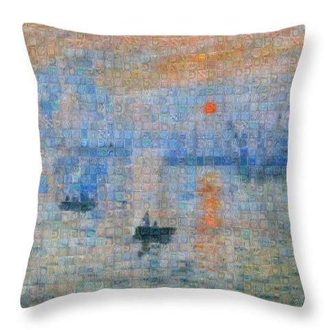 Tribute to Monet - 2 - Throw Pillow - ALEFBET - THE HEBREW LETTERS ART GALLERY