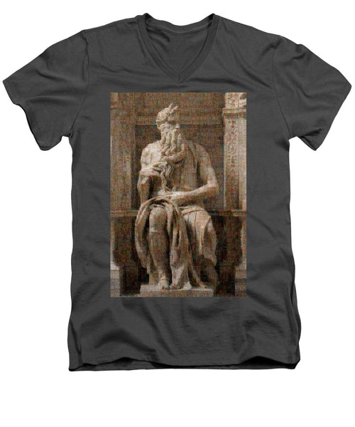 Tribute to Moses - Men's V-Neck T-Shirt - ALEFBET - THE HEBREW LETTERS ART GALLERY