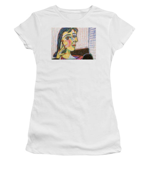 Tribute to Picasso - 3 - Women's T-Shirt - ALEFBET - THE HEBREW LETTERS ART GALLERY