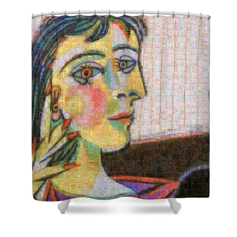 Tribute to Picasso - 3 - Shower Curtain - ALEFBET - THE HEBREW LETTERS ART GALLERY