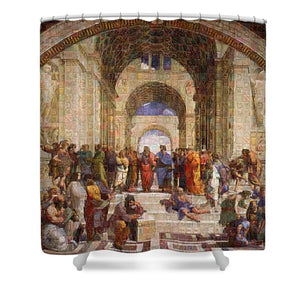 Tribute to Raffaello - Shower Curtain - ALEFBET - THE HEBREW LETTERS ART GALLERY