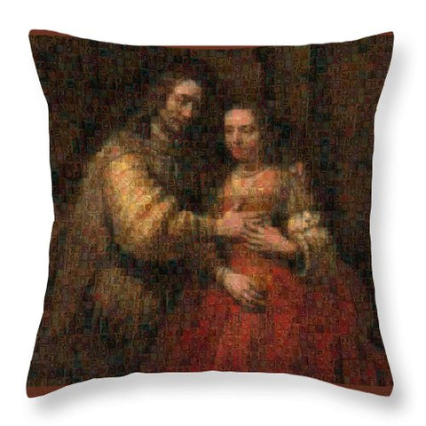 Tribute to Rembrandt - Throw Pillow - ALEFBET - THE HEBREW LETTERS ART GALLERY