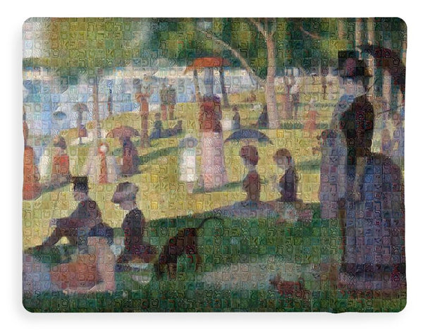 Tribute to Seurat - Blanket - ALEFBET - THE HEBREW LETTERS ART GALLERY