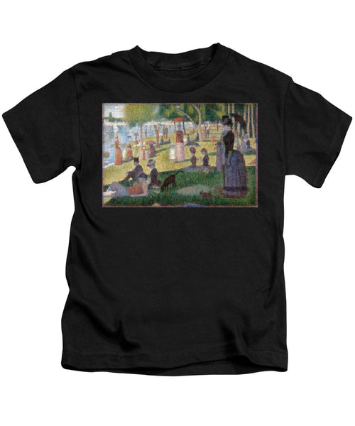 Tribute to Seurat - Kids T-Shirt - ALEFBET - THE HEBREW LETTERS ART GALLERY
