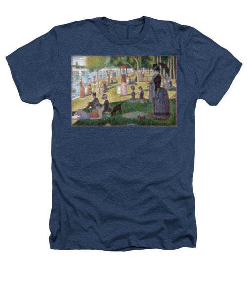 Tribute to Seurat - Heathers T-Shirt - ALEFBET - THE HEBREW LETTERS ART GALLERY