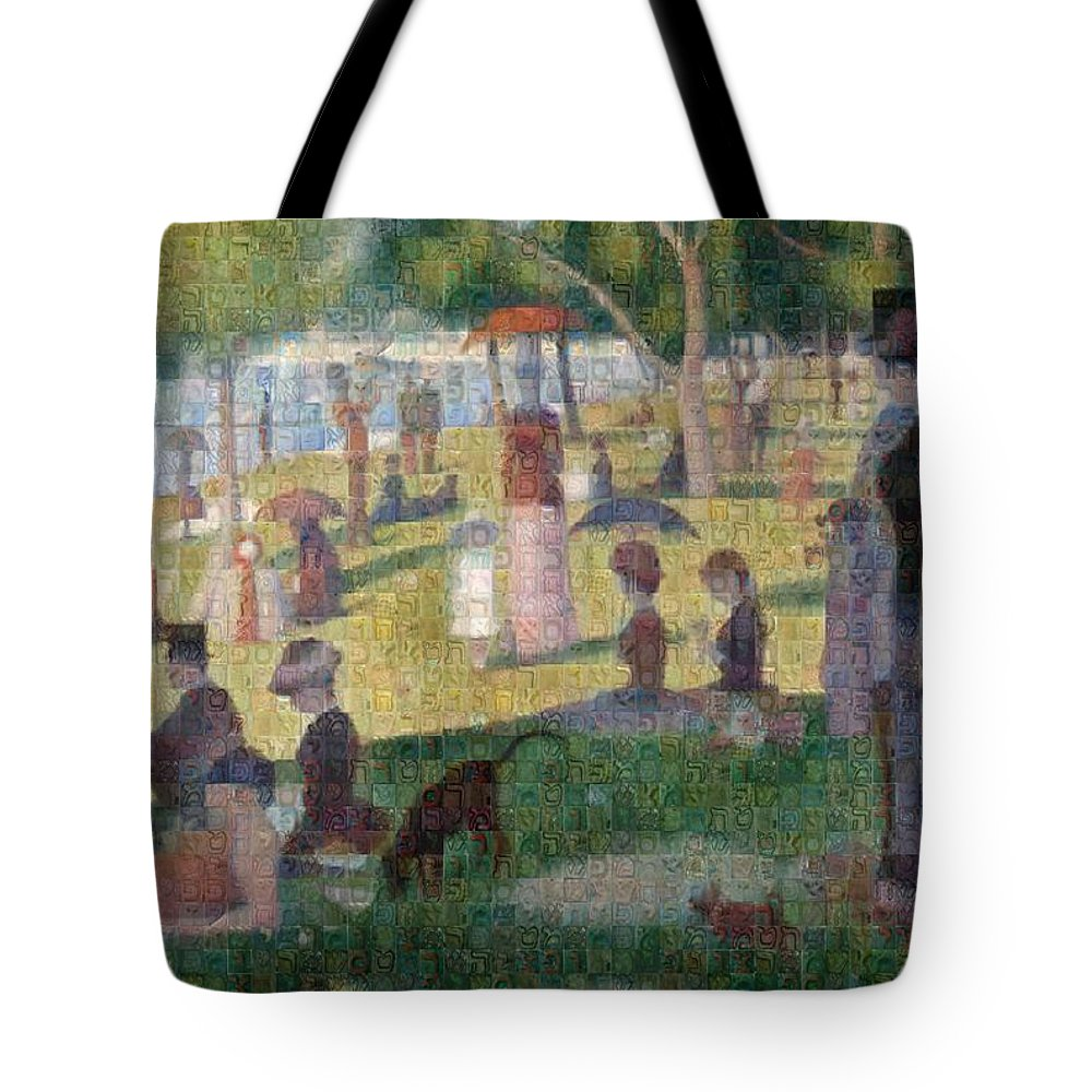 Tribute to Seurat - Tote Bag - ALEFBET - THE HEBREW LETTERS ART GALLERY