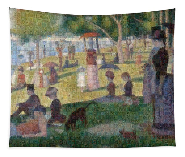 Tribute to Seurat - Tapestry - ALEFBET - THE HEBREW LETTERS ART GALLERY