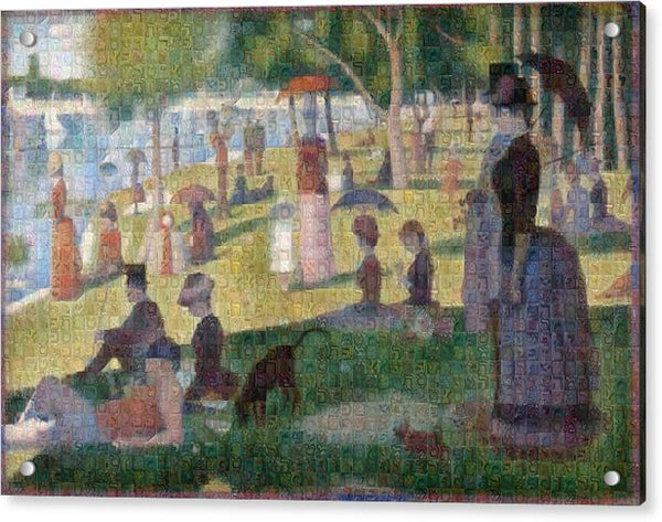 Tribute to Seurat - Acrylic Print - ALEFBET - THE HEBREW LETTERS ART GALLERY