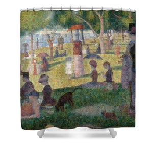Tribute to Seurat - Shower Curtain - ALEFBET - THE HEBREW LETTERS ART GALLERY
