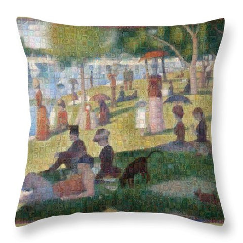 Tribute to Seurat - Throw Pillow - ALEFBET - THE HEBREW LETTERS ART GALLERY