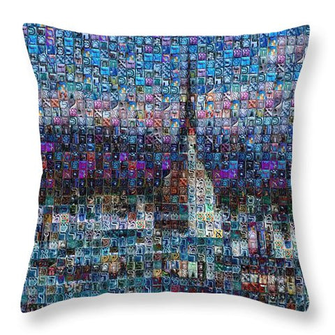 Tribute to Torino - 2 - Throw Pillow - ALEFBET - THE HEBREW LETTERS ART GALLERY