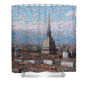 Tribute to Torino - Shower Curtain - ALEFBET - THE HEBREW LETTERS ART GALLERY