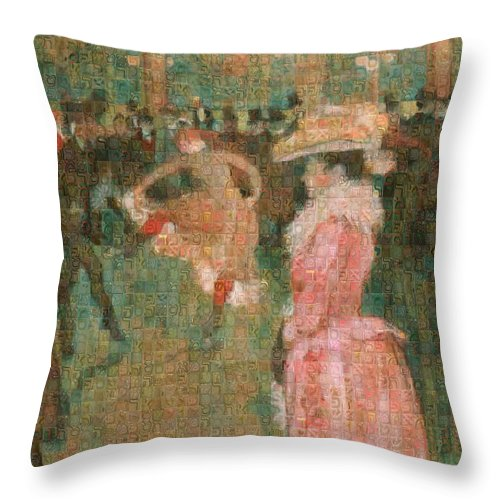 Tribute to Toulouse Lautrec - Throw Pillow - ALEFBET - THE HEBREW LETTERS ART GALLERY