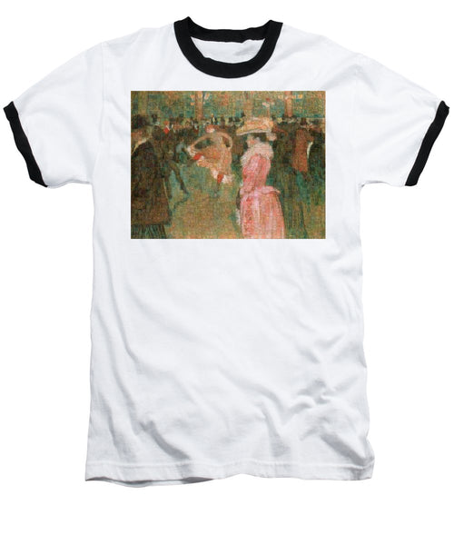 Tribute to Toulouse Lautrec - Baseball T-Shirt - ALEFBET - THE HEBREW LETTERS ART GALLERY