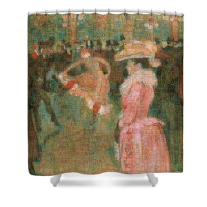 Tribute to Toulouse Lautrec - Shower Curtain - ALEFBET - THE HEBREW LETTERS ART GALLERY