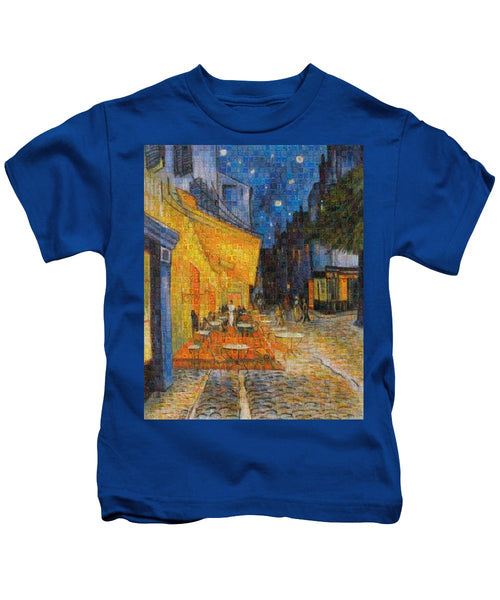 Tribute to Van Gogh - 1 - Kids T-Shirt - ALEFBET - THE HEBREW LETTERS ART GALLERY