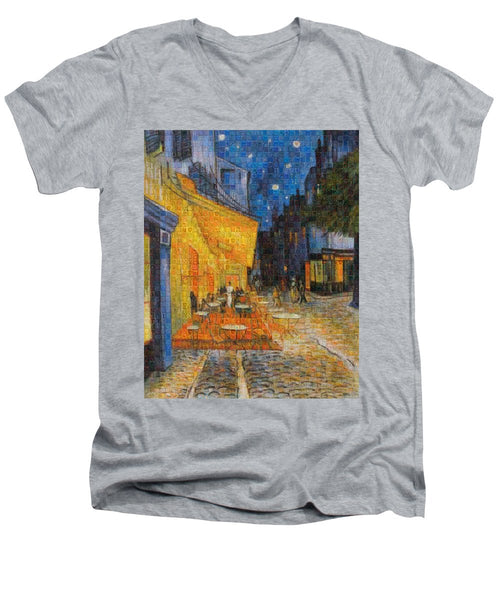 Tribute to Van Gogh - 1 - Men's V-Neck T-Shirt - ALEFBET - THE HEBREW LETTERS ART GALLERY