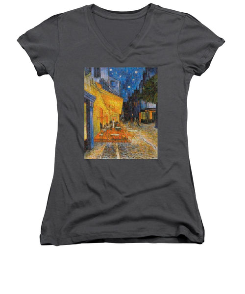 Tribute to Van Gogh - 1 - Women's V-Neck - ALEFBET - THE HEBREW LETTERS ART GALLERY