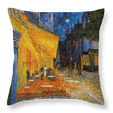 Tribute to Van Gogh - 1 - Throw Pillow - ALEFBET - THE HEBREW LETTERS ART GALLERY