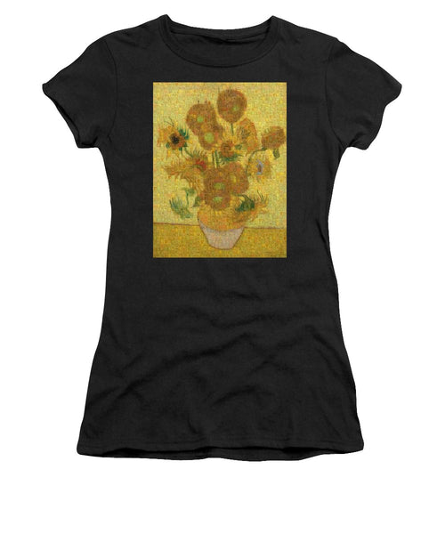 Tribute to Van Gogh - 2 - Women's T-Shirt - ALEFBET - THE HEBREW LETTERS ART GALLERY