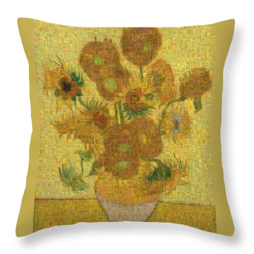 Tribute to Van Gogh - 2 - Throw Pillow - ALEFBET - THE HEBREW LETTERS ART GALLERY