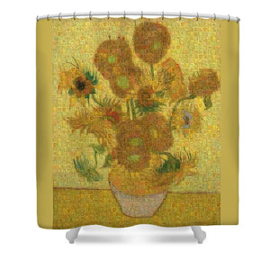 Tribute to Van Gogh - 2 - Shower Curtain - ALEFBET - THE HEBREW LETTERS ART GALLERY