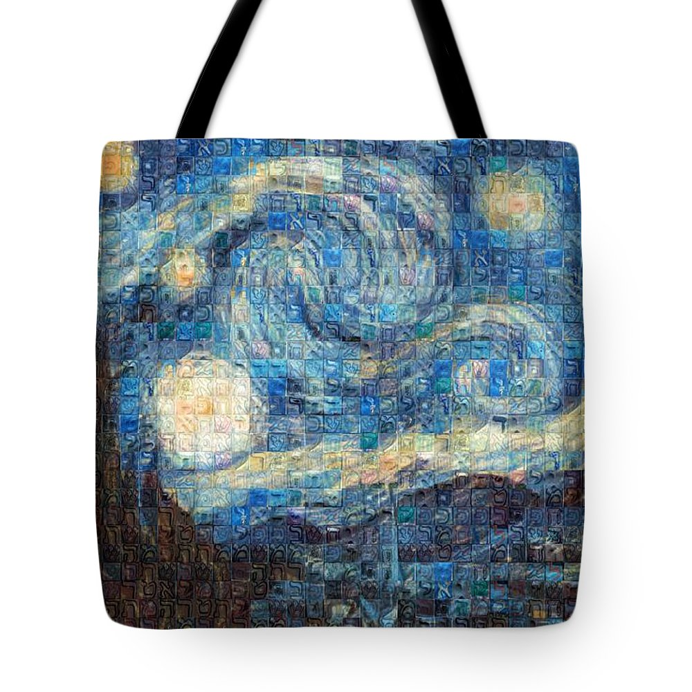 Tribute to Van Gogh - 3 - Tote Bag - ALEFBET - THE HEBREW LETTERS ART GALLERY