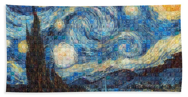 Tribute to Van Gogh - 3 - Bath Towel - ALEFBET - THE HEBREW LETTERS ART GALLERY